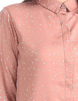 Elle Studio Concealed Placket Printed Shirt