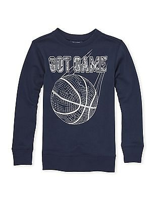 The Children's Place Blue Boys Active Long Sleeve Graphic French Terry Sweatshirt