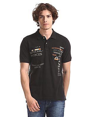 Flying Machine Grey Regular Fit Brand Graphic Polo Shirt
