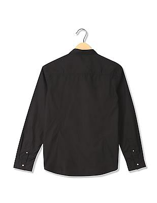 Flying Machine Solid Long  Sleeve Shirt