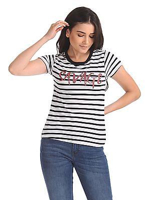 Flying Machine Women Round Neck Striped T-Shirt