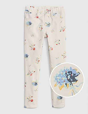 GAP Girls Superdenim Floral Jeggings With Fantastiflex