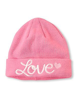 The Children's Place Girls Love Embroidered Beanie