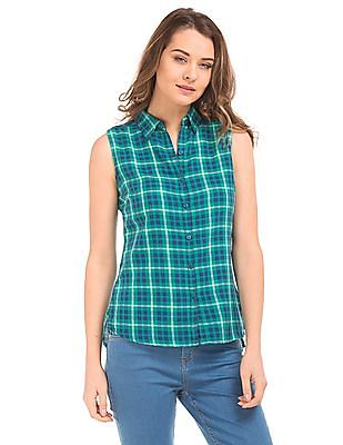 Flying Machine Women Sleeveless Check Shirt