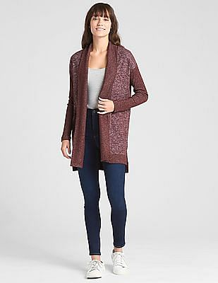 GAP Women Red Open Front Heathered Cardigan