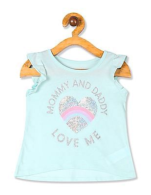 The Children's Place Blue Toddler Girl Short Ruffle Sleeve Embellished Top