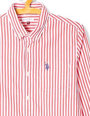 U.S. Polo Assn. Kids Boys Striped Button Down Collar Shirt