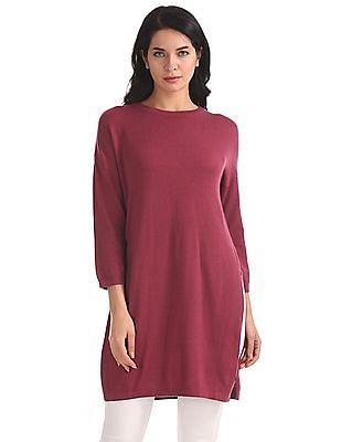 U.S. Polo Assn. Women Regular Fit Knitted Longline Top