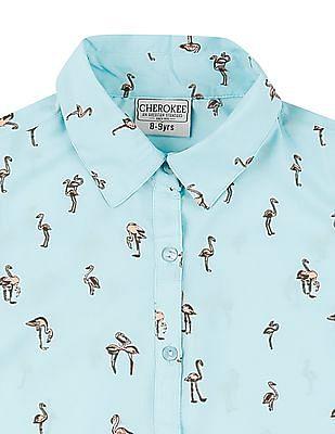 Cherokee Girls Flamingo Print Tie Hem Top