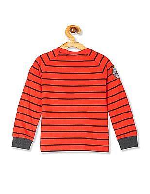 Cherokee Orange Boys Striped Henley T-Shirt