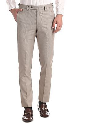 Arrow Brown Tapered Fit Autoflex Trousers