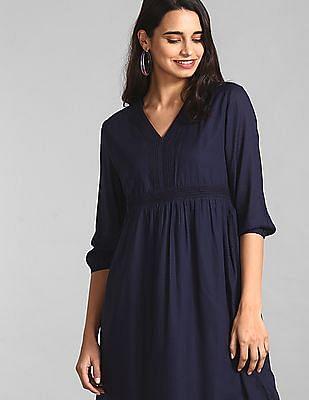 GAP Blue Solid Lace Dress