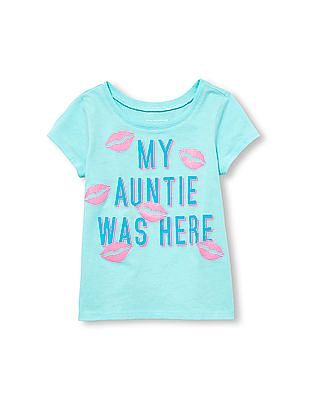d5fb62f4 The Children's Place Toddler Girl Short Sleeve ' My Aunty Was Here' Glitter  Kiss Print