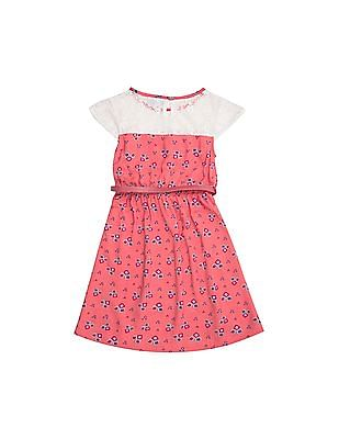 Cherokee Girls Lace Yoke Printed Fit And Flare Dress