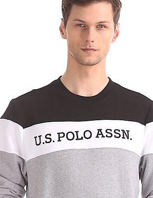 U.S. Polo Assn. Grey Crew Neck Colour Block Sweatshirt