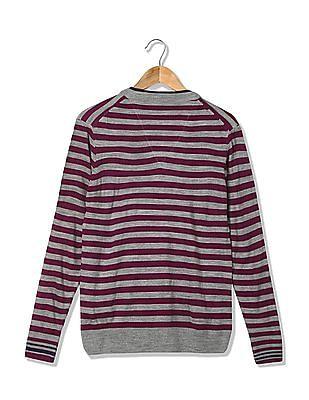 Arrow Sports Striped V-Neck Sweater