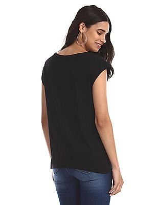 Flying Machine Women Black Metallic Print Cap Sleeve T-Shirt