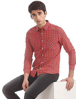 Flying Machine Red Cotton Check Shirt