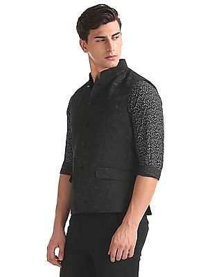 Arrow Regular Fit Patterned Nehru Jacket