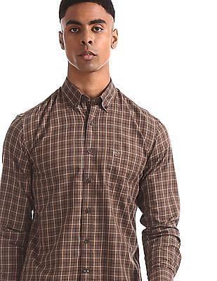Arrow Sports Brown Check Button Down Shirt