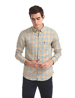 Shirts New Men Us Polo Assn Casual Shirt Button Down Dress Yellow Check Logo L Original Suitable For Men And Women Of All Ages In All Seasons Men's Clothing