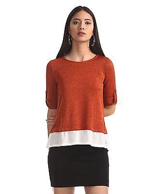 Cherokee Orange Roll Up Sleeve Twofer Top