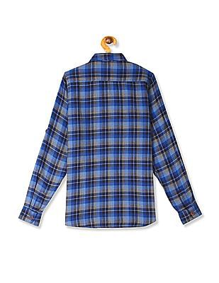 U.S. Polo Assn. Kids Blue Boys Check Flannel Shirt
