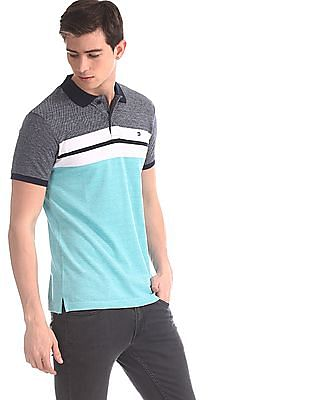 Roots by Ruggers Green Colour Block Pique Polo Shirt
