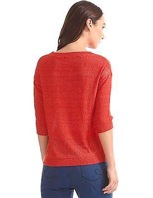 Elle Sequin Embellished Elbow Sleeve Sweater