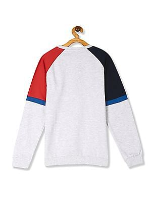 FM Boys Grey Boys Crew Neck Colour Blocked Sweatshirt