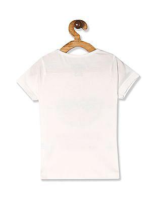 Cherokee White Girls Round Neck Printed T-Shirt