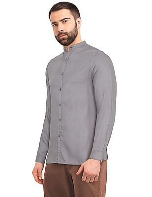 Excalibur Grey Mandarin Collar Solid Shirt