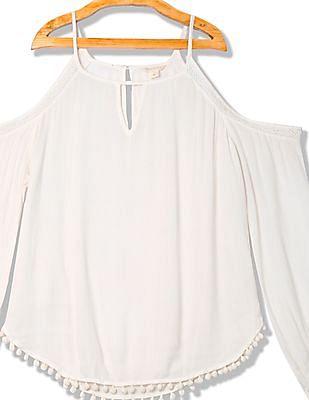 Aeropostale Lace Trim Cold Shoulder Top