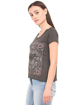 EdHardy Women Printed Front Round Neck T-Shirt
