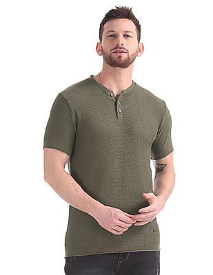 Cherokee Patterned Knit Henley T-Shirt