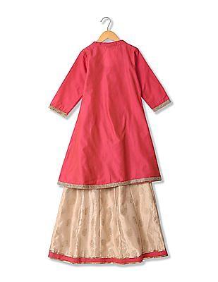 Karigari Girls Skirt Kurta And Dupatta Set