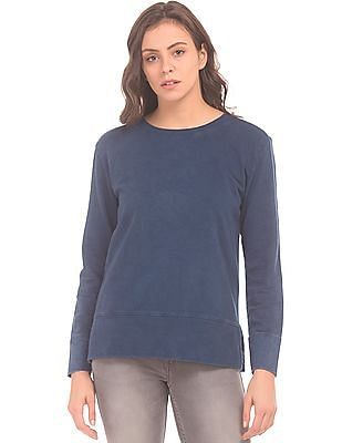 Flying Machine Women Crew Neck Washed Sweatshirt
