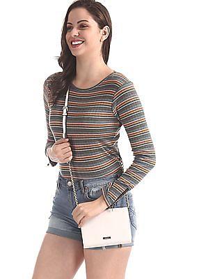 SUGR Multi Colour Striped Rib Knit Top