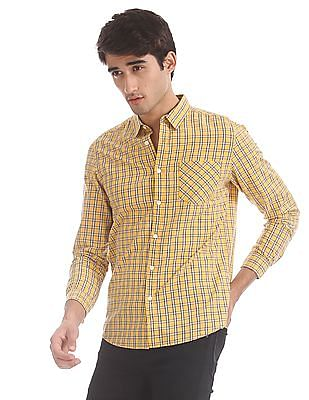 Flying Machine Yellow Spread Collar Check Shirt