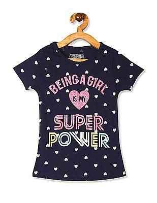 Cherokee Blue Girls Heart Print Crew Neck T-Shirt