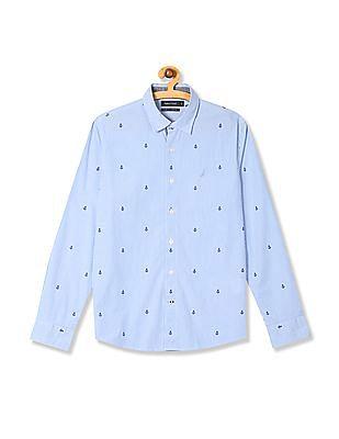 Nautica Long Sleeve Anchor Print Shirt