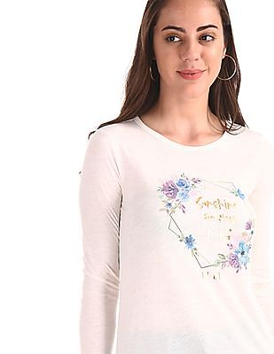 Elle Studio White Lurex Knit Long Sleeve Top
