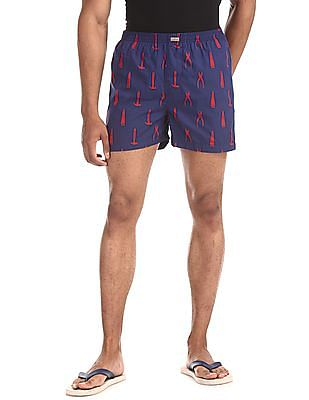 Flying Machine Blue Mid Rise Printed Boxers