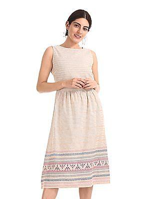 Bronz Sleeveless Printed Midi Dress