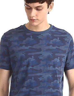 Aeropostale Blue Crew Neck Camo Print T-Shirt