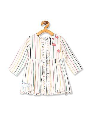 Donuts Girls Long Sleeve Striped Dress