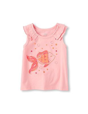 The Children's Place Toddler Girl Pink Sleeveless Ruffle Shoulder Embellished Top