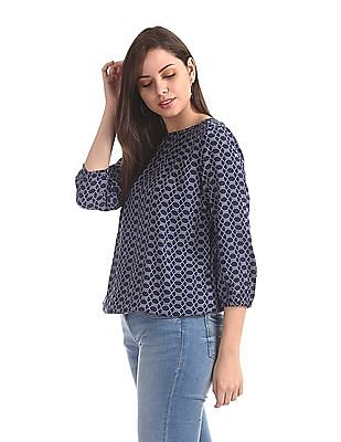 U.S. Polo Assn. Women Blue Printed Blouson Top
