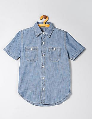 GAP Boys Chambray Short Sleeve Shirt