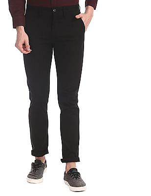 Arrow Sports Black Slim Fit Patterned Weave Trousers